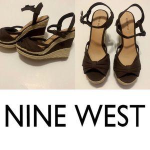 NEW Nine West Open Toe Platform Wedge Brown Sandal